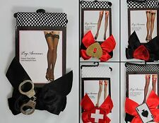 Fishnet Thigh High Stocking Pantyhose with Bow and Applique Leg Avenue One size