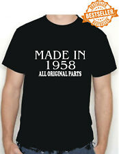 BIRTHDAY T-shirt MADE IN 1958 all original parts choose size and colour * NEW *