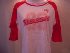 NWT Juniors Tampa Bay Buccaneers Glittery Team Logo 3/4 Sleeve Tee-Sizes S - 2XL