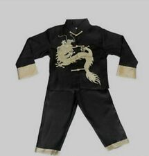 Chinese Boy's Dragon Shirt Pants Suit Black 2-16
