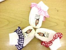 Frilly Gingham Topped Ankle Socks *3pairs* Boy/Girl colours WILL MIX IF REQUIRED