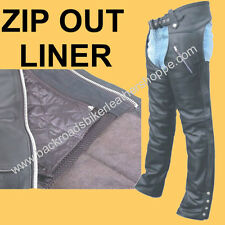 MENS WOMENS LEATHER MOTORCYCLE BIKER CHAPS with ZIP OUT LINING SIZES XS-5X