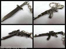 METAL REPLICA MACHINE HAND GUN ASSAULT RIFLE KEYRINGS AK47 SNIPER PISTOL KNIFE