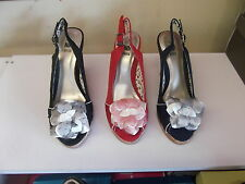 Ladies Shoes Stunning Wedges Black,Navy or Red With Cream Trim Size 5-10 New