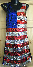 LADIES USA AMERICAN FLAG PATRIOTIC SEQUIN BLING PARTY SEXY DRESS FANCY DRESS UK