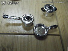 DOLLS HOUSE MINIATURE SILVER METAL POTS AND PANS SAUCE FRY PAN SET 1/12th SCALE