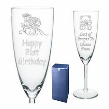 Engraved Champagne Flute 18th 21st 30th 40th Birthday  Gift - Present