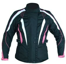 TMW Womens Cordura Armoured Waterproof Motorcycle Biker Jacket Black Pink