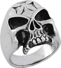 STERLING SILVER SKULL RING WITH IRON CROSS ON HEAD (TR24)