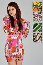 Womens Fitted Bodycon Mini Dress Long Sleeves Patterned Prints Ladies Brand New