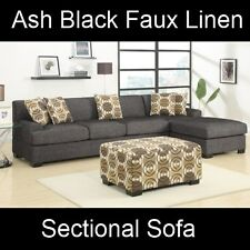 Ash Gray Faux Linen Fabric Sectional Couch Sofa Set F7447 F7445 Modern Furniture
