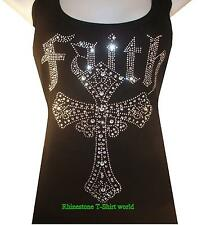 RHINESTONE & RHINESTUD FAITH CROSS TANK TOP, BLACK SIZE: S,M,L,XL,TSHIRT,TOPS