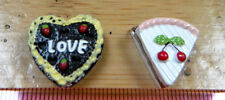 DOLLS HOUSE MINIATURE FOOD 1/12th SCALE 2x CAKES CHOCOLATE CHERRY GATEAUX SLICES