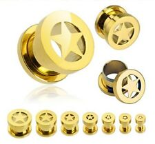 Gold Plated Over 316L Surgical Steel Screw Fit Star Tunnel / Ear Stretcher