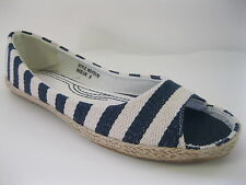 Ladies Navy Blue/White Striped Peep-Toe Canvas Shoes, Style F2170
