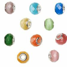 4 Large Hole European 14mm Rondelle Faceted Glass Cat's Eye Beads w/ Silver