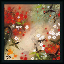 Gardens in the Mist XII by Aleah Koury Red Abstract 24x24 Framed Art Print