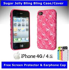 Sugar Jelly Case Cover For iphone 4/4s +1 Earphone dust cap