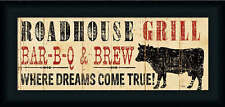 Roadhouse Grill by Pela Studio Country Rustic Sign 20x8 Framed Art Print Picture