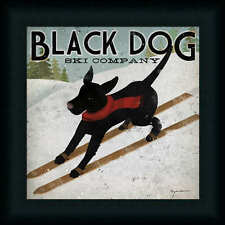 Black Dog Ski Co. by Ryan Fowler Whimsical Labrador Sign 12x12 Framed Art Print