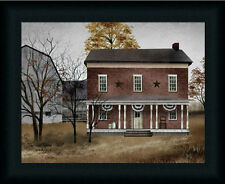 The Old Tavern house Primitive Folk Art Landscape Framed Art Print Décor 12x16