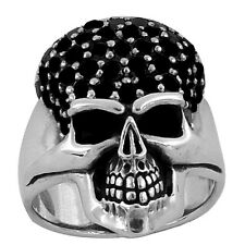 STERLING SILVER SMILING SKULL RING WITH BLACK CZ STONES IN SIZES 10-14 (TR119)