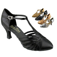 "Women's Salsa Ballroom Tango Latin Leather Satin Dance Shoes 2.5"" Very Fine 6829"