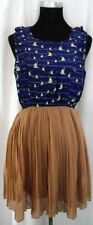 NEW Blue Bird Print Camel Pleated Skirt Dress Sizes 8 10 12 14