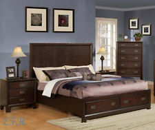 NEW BELLWOOD CAPPUCCINO FINISH WOOD QUEEN KING PANEL BED W/ DRAWERS