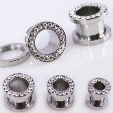 Pair Clear CZ Gem Tunnels Screw Fit Back Stainless Steel Plugs Gauges 2G 0G 00G