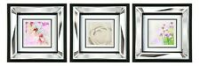 37.5 x 37.5 Wall Art Picture With Mirror Glass Mounted Frame - 3 Flower Designs
