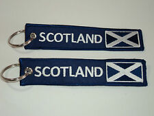 Embroidered SCOTLAND St. Andrews Flag Double Sided Keyrings / Keychains