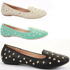 Ladies Flat Low Heel Loafer Style Ballerinas Slip On Shoes Work Pumps Studs Size