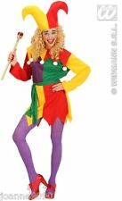 HALLOWEEN LADIES CLOWN MEDIEVAL JOLLY JESTER ELF FANCY DRESS COSTUME WITH HAT BN