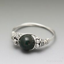 Bloodstone Heliotrope Bali Sterling Silver Wire Wrapped Bead Ring ANY size