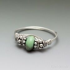 Variscite Bali Sterling Silver Wire Wrapped Bead Ring ANY size