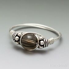 Smoky Quartz Bali Sterling Silver Wire Wrapped Bead Ring ANY size