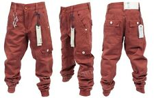 BRAND NEW BOYS KIDS ETO EB270 DESIGNER CUFFED RUST RED CHINO JEANS. SIZES 24-29
