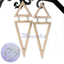 Metal Style Gold Tone Hollow Double Triangle Punk Stud Gothic Dangle Earrings