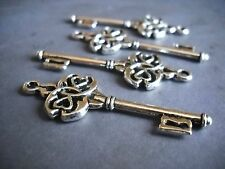 Skeleton Key Pendants-Skeleton Keys-Ornate-Bronze Copper Silver-10pcs