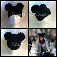 Mickey Mouse Pom Pom  Ears Beanie Hat Handmade Crocheted