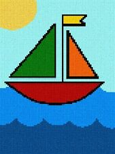 Sailboat Needlepoint Kit or Canvas NEW Beginner Kids Painted Needle Point