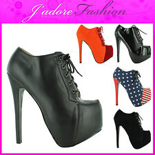 NEW LADIES STILETTO HIGH HEEL PLATFORM LACE UP CONCEALED ANKLE BOOTS SIZE UK 3-8
