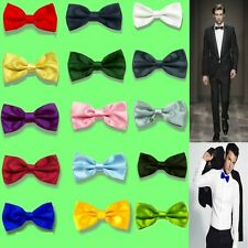 New Classic Tuxedo Men's Bowtie Adjustable Wedding Party Solid Satin bow tie BTH