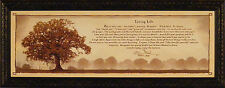 LIVING LIFE by Bonnie Mohr FRAMED ART PRINT PICTURE Tree Inspirational 16x40