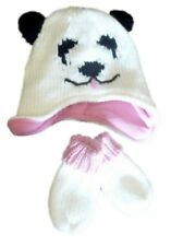 Arizona Infant & Toddler Girls White Knit Panda Bear Hat & Mittens Set Beanie