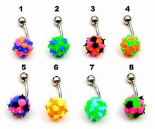 SPIKEY UV KOOSH BALL BELLY / NAVEL BAR, CHOOSE YOUR COLOUR SAME DAY DESPATCH