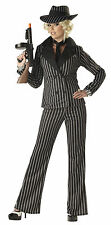 ADULT LADIES GANGSTER LADY FANCY DRESS COSTUME 1920s 1930s MAFIA OUTFIT