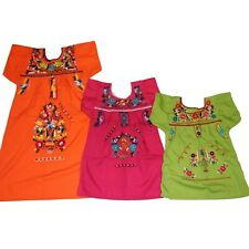 Girls Assorted Colors Peasant  Embroidered Mexican Dress Sizes 1 - 12 years