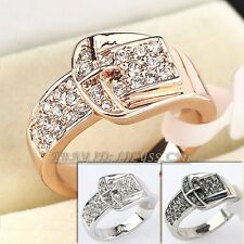 A1-R094 Fashion Belt Buckle Ring 11mm Width 18KGP use Swarovski Crystal